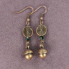 Dangle Spiral Copper Forest Green Oak Acorn Totem Earrings Tribal Style Drop