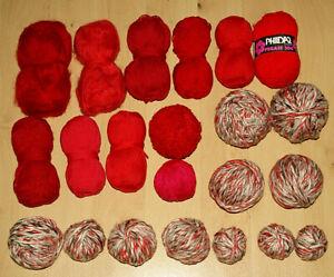 Ca. 1000 Gramm Wolle Wollpaket *Wollreste z.B.Phildar # rot * rot - creme