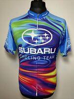 Savi Customs Subaru Cycling Team Neon Racing Jersey Short Sleeve Shirt L VGC