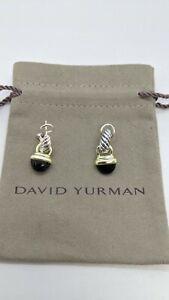 David Yurman Sterling Silver & 14K Gold Black Onyx Acorn Drop Earrings