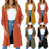 Women Long Sleeve Cardigan Trench Coat Long Jacket Blazer Duster Casual Outwear