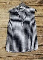 Jones New York Sport Medium Linen Sleeveless Gingham Blue White Shirt Blouse M