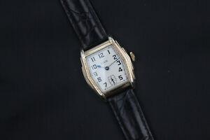 1929 Elgin Engraved Hex Sided Art Deco Case Men's Vintage Watch