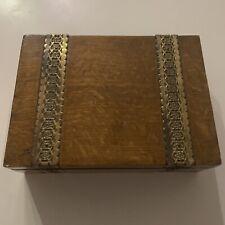More details for vintage wooden oak hinged cigar box / case with brass filigree edwardian antique