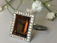 "Antique  GEOMETRIC Art Deco Smoky Quartz Paste Ring marked ""835"" Size M1/2"