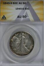 1945-S   50C ANACS   AU50   Walking Liberty, Lady Liberty Half, 0.50