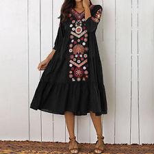 ZANZEA Bohemia Women Long Sleeve Swing Long Shirt Dress Floral Print Sundress