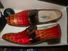 MISTER LEATHER PATENT CROC PINK TAN 6 EX WIDE MENS SHOE HAND MADE SPAIN SLIP ON