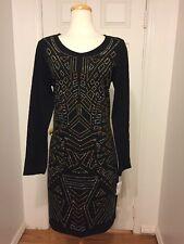 NWT JUNAROSE Black Metallic Studded Body Con Dress Size OX