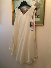 New Jaeger London Vintage Cream Cotton Tunic Top Dress With Leather Trim,12
