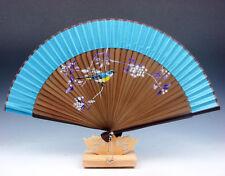 Lovely Bird & Flowers Chinese Folding Fan Hand Fan Wall Decor w/ Stand #05291608