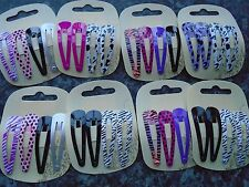 2 x pack 4 animal print hair bendies metal 4.8cm sleepies snap clips slides