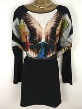 JJ GARELLA french Designer Dress Size L 44 Uk 16 Oversized Feather Black Tunic