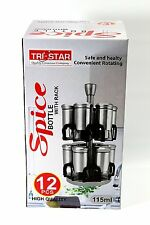 Revolving Metallic Spice Rack with 12 Jars Stainless Steel with Bottle CAROUSEL