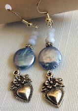 Silver plate Blue Lace Agate & coin Pearl Heart charm long dangle earrings