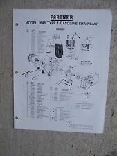 1979 Partner Model 1646 Type 1 Gasoline Chain Saw Parts List Manual Power Tool R
