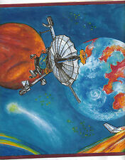 PLANETS IN SPACE WITH ROCKETS WALLPAPER BORDER  7196028B