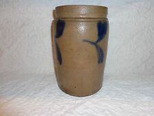 Antique Cobalt Blue Decorated Stoneware Pottery Table/Pantry Crock Marked PHILA