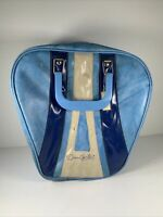 Vintage 70's Don Carter Bowling Ball Bag Single Striped Vinyl Leather Retro