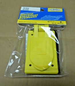 NIB HUBBELL MARINE HBL52CM21 WEATHERPROOF LIFT COVER PLATE RECEPTACLE (36 AVAIL)