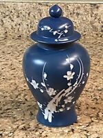 "Lidded Ginger Jar Dark Blue White flowers 10"" tall 5"" wide pointed crown"