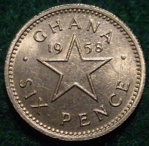 HI GRADE UNC 1958 6 PENCE GHANA-BRITISH COMMONWEALTH