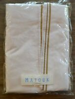Matouk Ansonia Queen Flat Sheet, White / Bronze Embroidery