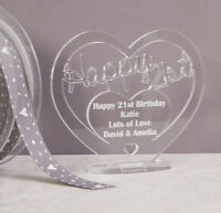Personalised Acrylic Freestanding Heart for 21st Birthday Gift with Message