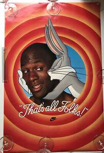 VTG 1992 Nike Poster THAT'S ALL FOLKS! Michael Jordan Bugs Bunny Looney Tunes