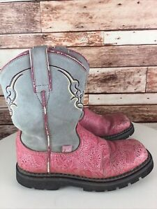 Justin Womens Pink Flower Cowboy Western Boots - L8011 - Size 9B