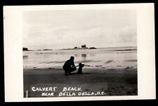 Calvert Beach near Bella Bella BC Canada RPPC man with bear? velox brand