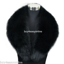 "100cm 39""inch Men Black Real  Big Fox Fur Collar Scarf Wrap Shawl Neck Warm Cape"