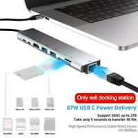 8 in 1 Multiport USB-C HUB to 4K HDMI USB 3.0 Aux Adapter For MacBook Pro E2F3