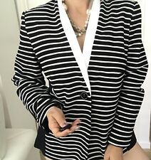 LIZ JORDAN WOMENS BLAZER JACKET STRIPED LINED STRETCHY BLACK WHITE NWT SZ L