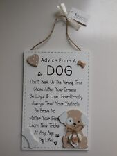 DOG PUPPY ADVICE MESSAGE HANGING DOOR WALL SIGN PLAQUE * NEW *