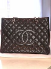 Chanel Dark Brown Quilted Caviar Leather Large Grand Shopping Tote Handbag