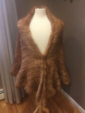 BELLE FARE FUR KNITTED MINK PONCHO CAMEL