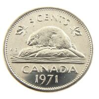 1971 Canada Five 5 Cents Nickel Uncirculated New Coin Fresh From Roll A256