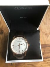 CALVIN KLEIN Rose Gold Leather Watch INFINITE ETA2824-2 Swiss K5S346G6 New
