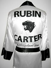 """Rubin """"Hurricane"""" Carter Autographed Black Panther White Boxing Robe ASI Proof"""