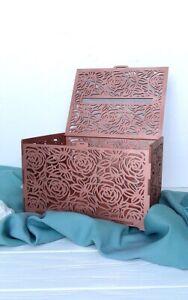 Rose gold wedding card box gift card holder Wood money box envelope box