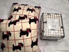 Msh 100% Cotton King Flannel 4 pc Sheet Set w/ 2 Accent Pillows Scottie Dogs