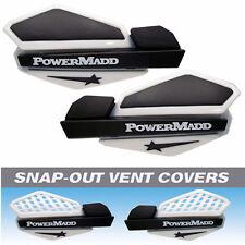 Powermadd White/Black Star Snowmobile Handguards & Mount Kit Polaris/Skidoo etc.