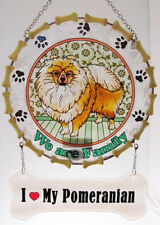 """ I LOVE MY POMERANIAN "" SUNCATCHER POM  ""WE ARE FAMILY"" DOG GLASS WINDOW PANEL"