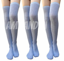 3 Pairs GRAY Wool Over-Knee High Socks Stockings! WARM & TRENDY