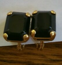 Monet Gold Tone Black Stone Clip Earrings - Nice!