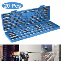 20Pcs Rotary Hammer Drill SDS+ Plus Bit Bits Chisel Set Concrete Fits For Hilti