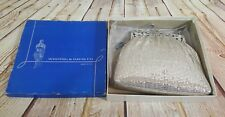Vintage Whiting and Davis Co. Silver Metal Mesh Flapper Coin Purse with Box