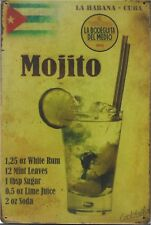 New Vintage Style Retro Metal Wall Hanging Sign Mojito Cocktail Recipe