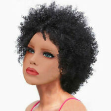 Natural Women Short Kinky Curly Hair Wig Black Afro Fluffy Wavy Wig Costume WH3